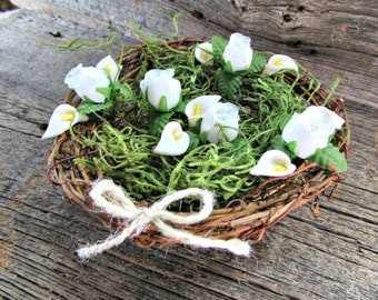 White Calla Lily Rose Centerpiece, Twig Bird Nest Decor Centerpiece Wedding Decor, Rustic Farmhouse Country Spring Wedding Easter Decoration