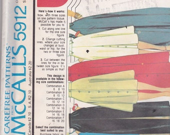 McCalls 5912 Vintage Pattern Womens  Skirt In 6 Variations  Size 8,10,12 UNCUT