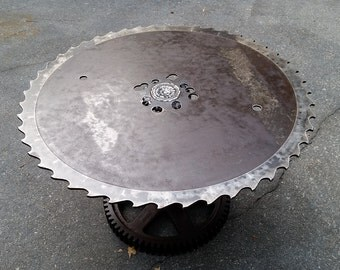Saw Blade Coffee Table- Salvaged / Industrial Buzzsaw and gear- Looks sharps, but isn't! Perfect for Rustic Cabin to Industrial loft!