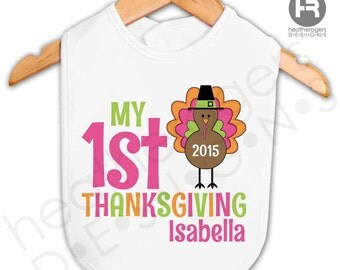 Personalized Baby's First Thanksgiving Bib - GIRLS Personalized Thanksgiving Outfit