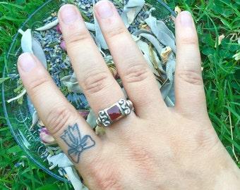 Sterling Scrolled Carnelian Gemstone Ring