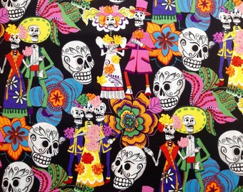Los Novios (The Couple) by Alexander Henry Fabrics/Day of the Dead/Quilting Fabric/Sewing and Craft Fabric