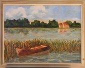 Lonely boat before rain - California landscape plein air 24x18 oil painting