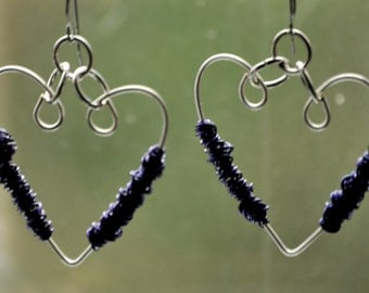 MyFunnyValentine .. silver .. jewelry .. wire wrapped .. dangle .. heart .. purple .. jewelry lovers .. wearable art