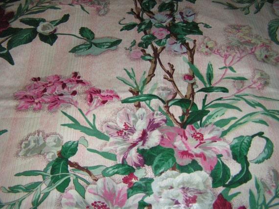Stunning Vintage Chintz Fabric Glazed Cotton Wax Cotton