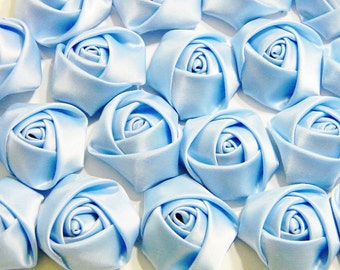 SALE Light Blue Satin Roses Mini Small Ribbon Rosettes Rose Bud 1.25 - 1.5 Inches Diameter for Baby Hairbow Headband or Bridal  Accessory