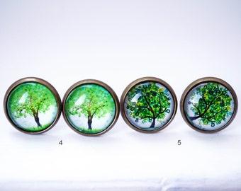 Tree cabochon earring studs