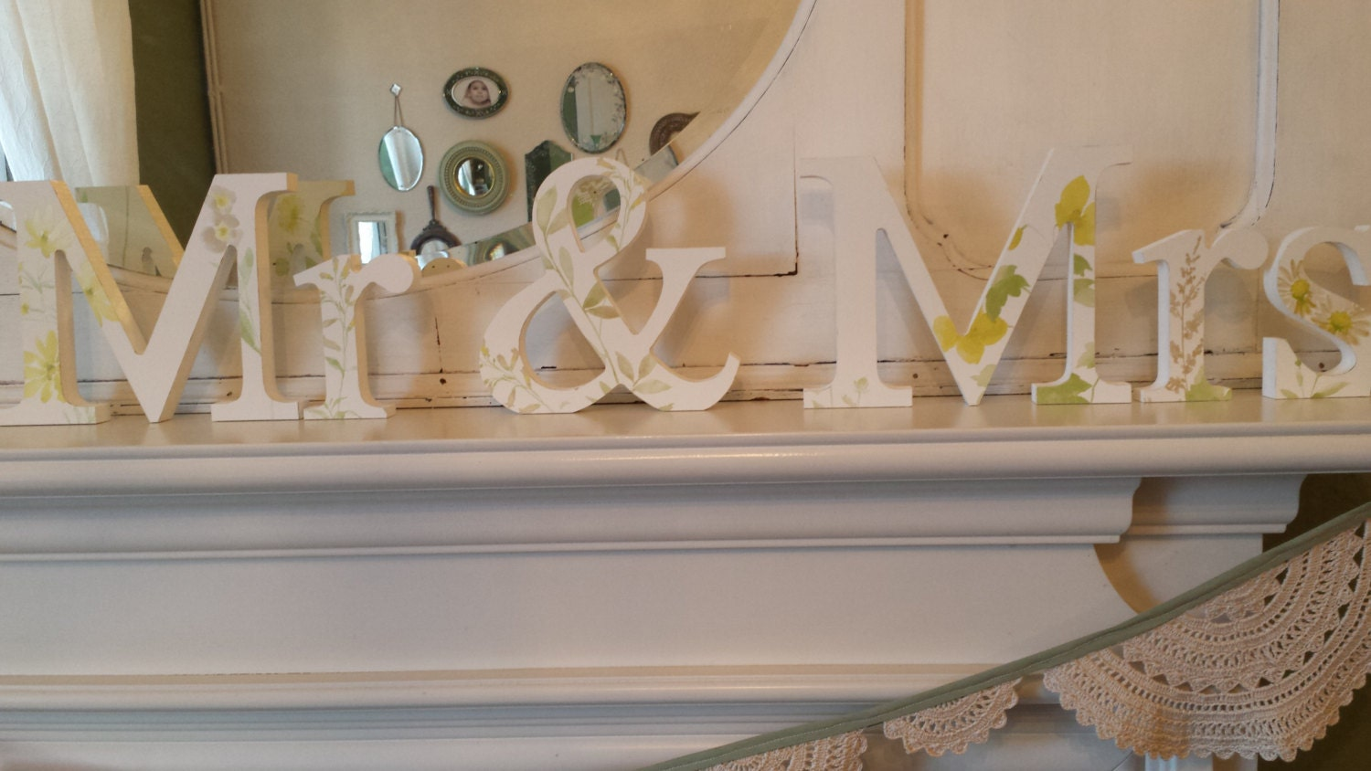 Beautiful summer garden yellow floral vintage chic Mr and Mrs free standing wooden wedding decoupaged letters. 15 cm high