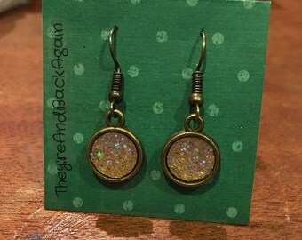 10mm Metallic Yellow Faux Druzy Dangle Earrings