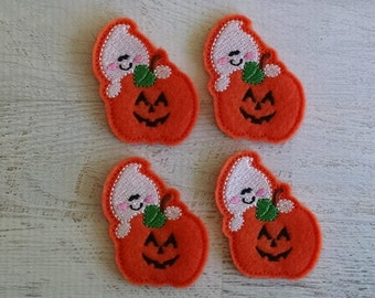 "Pumpkin & Ghost Felt Embellishment, set of 4,  CUT Felties, 1.75"" x 2.25"""