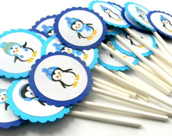 12 Penguin Cupcake Toppers, Winter Penguin, First Birthday, Winter Theme, Penguins, Winter Birthday, Penguin Birthday, Cold Outside Theme