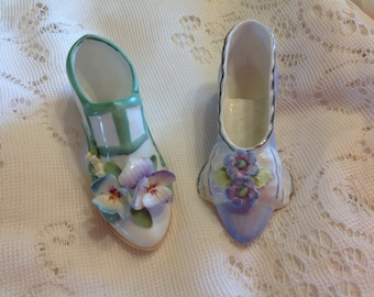 Two Vintage Bone China Shoes by Royal Stratford