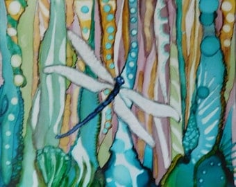 SPECIAL SALE - Dragon Fly - Print of Original Alcohol Ink Painting