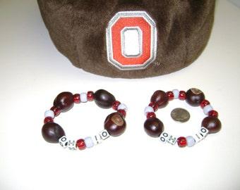 """Ohio State """"OH-IO"""" Buckeye Bracelet, Snap/Stretch Bracelet -Small Size!"""