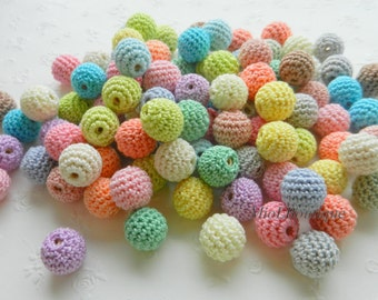 """Crochet beads 100 PCS 14 mm or 35/64""""  Pastel colors Wooden crochet cotton beads Necklaces Made to order"""