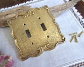 Double Solid Brass  Switch  Plate , Vintage Switch Cover Home Decor