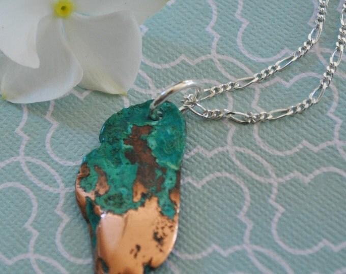 Oxidized Splash Copper pendant necklace on Sterling Silver chain simple, minimalist, Northern Michigan