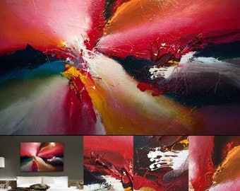 """Large abstract painting by Dan Bunea: """"experience the unexperienced"""", 80x120cm or 32x48in, acrylics on canvas, for sale"""