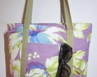 "Tote Bag, Purple, with Front Pocket, Zipped Bag, Fabric Bag, Handmade Bag, Market Bag, Shoulder Bag, Size W14"" x H14"" x D3"", Gift Idea!"