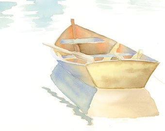 Original watercolor row boat, NOT A PRINT