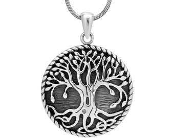 925 Sterling Silver Ancient Tree of Life Symbol Round Pendant Necklace, 18 inches