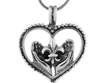 925 Oxidized Sterling Silver Heart Fleur De Lis Symbol Giving Hands Pendant Necklace, 18 inches