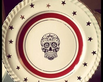 Vintage candy skull plate Gothic, circus