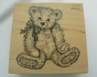 A Rare and Coveted Retired Vintage Personal Stamp Exchange Teddy Bear with Striped Ribbon G-1174  Rubber Stamp from 1995 FREE US SHIPPING