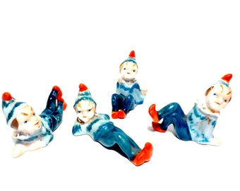 Snow Elves, Set of 4, Elf Elves in Winter, Christmas Elf, Elves in Sweaters and Hats, Mid Century Japan