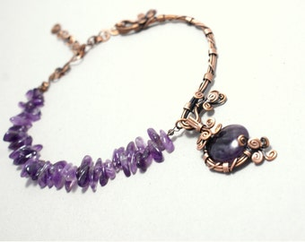 Wire Wrapped Necklace Amethyst Necklace Copper Necklace Wire Wrapped Jewelry Handmade Copper Wire Jewelry