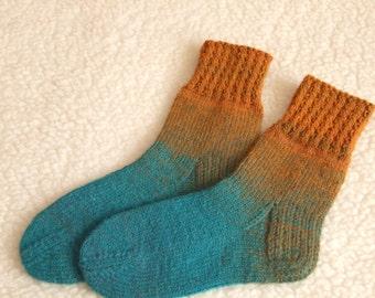 Hand Knitted Wool Socks - Colorful Wool Socks for  women-soft Socks -Size EU 37-39 US 6-7,5