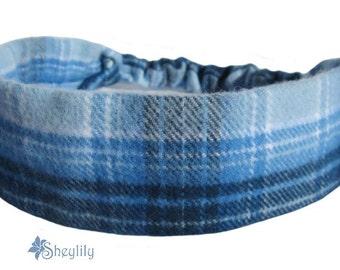 Blue Flannel Headband by Sheylily