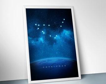 "Capricorn : digital art, horoscope, zodiac, space, astrology, stars, constellations, poster print, 24"" X 36"", 16"" X 24"", 12"" X 18"", 8"" X 12"""