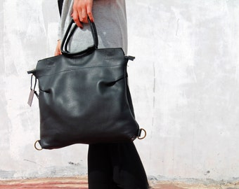 Black leather handbag, leather handbag, backpack handbag, black leather bag, women handbag, big leather handbag, handmade leather bag