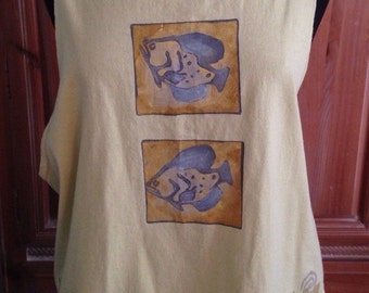 Blue Fish Sleeveless Tshirt with Fish Design