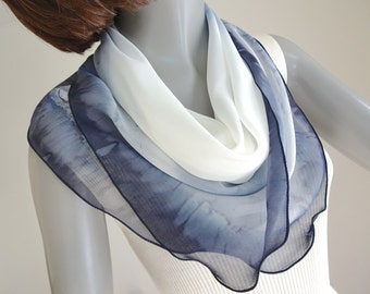 White Gray Black Scarf, Small Neck Square, One of a Kind,  Hand Painted Silk, Neck Silk Scarf, Hand Dyed, Artist Handmade, Unique, Jossiani