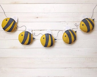 Bumble Bee Felt Garland - Bee Garland - Bee Banner - Kids Garland - Felt Garland - Home Decor - Brithday Decor