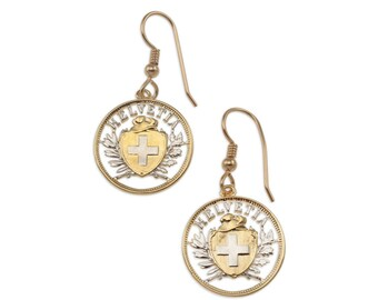 """Switzerland Royal Crest Earrings, Switzerland Two Rappen Coin Hand Cut, 14 Karat Gold and Rhodium Platted, 3/4"""" in Daimeter, ( # 292E )"""