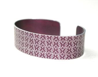 Plum butterfly aluminium cuff bracelet