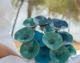 Bridal Flower Bouquet,Wedding Bouquet,Baby Blue Flowers,Turquoise Bouquet,Ocean Blue Ceramic Flowers,Wedding Decor,Garden Decor,Boutonniere