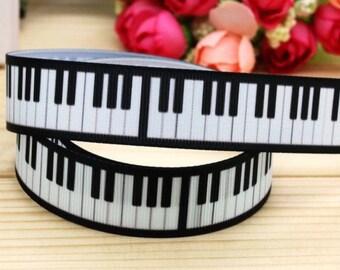 BTY 7/8 Inch Piano Keys Grosgrain Ribbon Hair Bows Scrapbooking Lisa