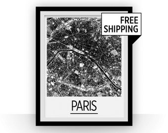 Paris Map Poster - france Map Print - Art Deco Series
