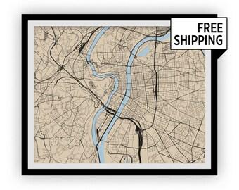 Lyon Map Print - Choose your color