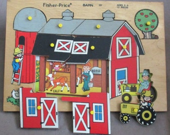 Fisher-Price Wood Puzzle #501 Barn