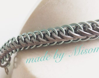 Chainmail bracelet, seafoam green with stainless steel chain mail bracelet, bright anodized aluminum chainmaille jewelry made by misome