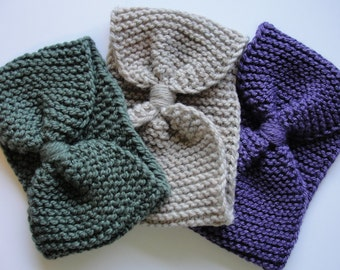 Hand Knitted Turban Style Wool Ear Warmer Headband