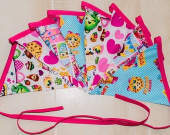 Shopkins themed fabric banner - Shopkins party decoration - Shopkins themed bunting
