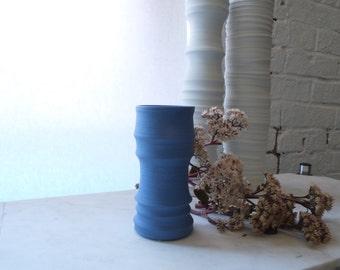 Sample Sale, Textured Cylinder Vase, Electric Blue, Wheel Thrown,  Porcelain, Handmade Ceramics