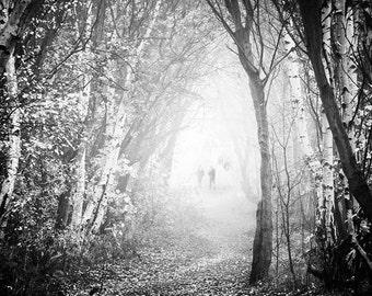 Fog Walkers, Black and White Landscape Fine Art Photography,  Illford Lightjet Print