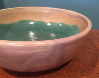 DISCOUNTED ITEM!!! Small handmade tan and turquoise bowl
